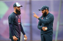 Adil Rashid and Moeen Ali in conversation at England's nets session, July 9, 2019