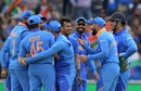 The Indian team celebrates the dismissal of Kane Williamson, India v New Zealand, World Cup 2019, Old Trafford, July 9, 2019
