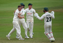 Liam Patterson-White celebrates a wicket, Somerset v Nottinghamshire, County Championship, 3rd day, July 9, 2019