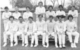 Glamorgan team, 1981. Back Row (l to r) - Geoff Holmes, Arthur Francis, Alan Lewis Jones, Allan Jones, Rodney Ontong, Ezra Moseley, Robin Hobbs        Front Row - Barry Lloyd, Kevin Lyons, Eifion Jones, Malcolm Nash (capt), Alan Jones, John Hopkins, Mike Llewellyn.