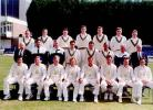 The 1997 Glamorgan squad.         Back row (l to r): Alun Evans, Steve Tomlinson, Andrew Davies, Simon Jones, Owen Parkin, Mike Powell, Wayne Law.  Middle row (l to r): Byron Denning (1st XI scorer), John Derrick (2nd XI coach), Duncan Fletcher (1st XI coach), Darren Thomas, Adrian                      Shaw, Gary Butcher, Alan Jones (Director of Coaching), Gordon Lewis (2nd XI scorer).     Front Row : Steve James, Robert Croft, Hugh Morris, Tony Cottey, Matthew Maynard, Steve Watkin, Colin Metson, Adrian Dale.