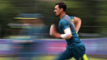 Mitchell Starc bowls in the nets