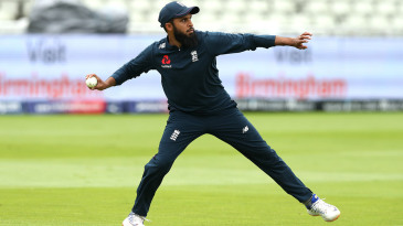 Adil Rashid during England's fielding practice