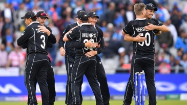 Hugs all around after New Zealand beat India in the semi-final
