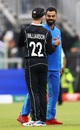 Kane Williamson and Virat Kohli greet each other after the game, India v New Zealand, World Cup 2019 semi-final, Old Trafford, July 10 2019