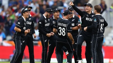 The New Zealand players celebrate after Martin Guptill's direct-hit finds MS Dhoni short