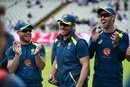 David Warner, Aaron Finch and Glenn Maxwell were all smiles before the start of play, England v Australia, World Cup 2019, Edgbaston, July 11, 2019
