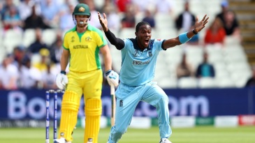 Jofra Archer dismissed Aaron Finch for a first-ball duck