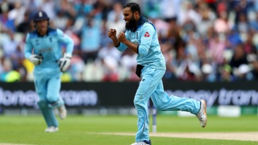 Adil Rashid celebrates after dismissing Alex Carey