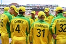 Aaron Finch talks to his teammates before the second innings, England v Australia, World Cup 2019, Edgbaston, July 11, 2019