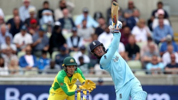 Jason Roy goes for a big shot on course to his fifty