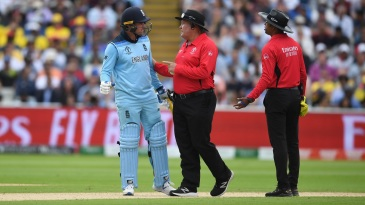 Jason Roy argues with the umpires after his dismissal