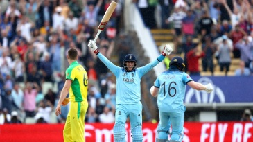 Winning moment: Joe Root celebrates as Eoin Morgan hits the winning runs