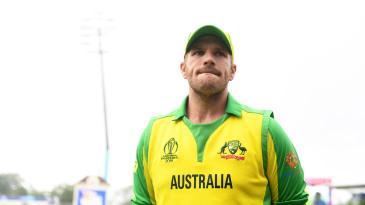 Aaron Finch looks on during Australia's semi-final defeat