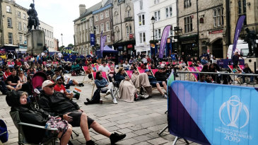 People watch the World Cup in Durham's Market Square