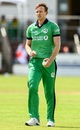 Shane Getkate gets ready to bowl during his ODI debut, Ireland v Zimbabwe, Bready, July 1, 2019