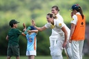 Ellyse Perry interacts with a couple of young fans during a drinks break, England Academy Women v Australia Women, tour match, Marlborough, July 12, 2019