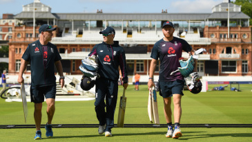 Batting coach Graham Thorpe, Eoin Morgan and Jonny Bairstow walk out at Lord's