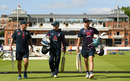 Batting coach Graham Thorpe, Eoin Morgan and Jonny Bairstow walk out at Lord's, World Cup 2019, Lord's, July 13, 2019