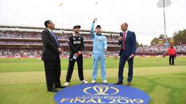 The coin goes up at the toss of the 2019 World Cup final