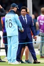 Eoin Morgan and Sachin Tendulkar chat before the match, England v New Zealand, World Cup 2019, final, Lord's, July 14, 2019