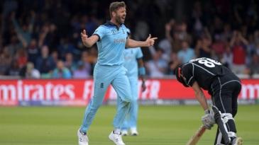 Liam Plunkett celebrates after dismissing Henry Nicholls