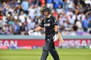 Ross Taylor walks off after being adjudged lbw off Mark Wood, England v New Zealand, World Cup 2019, Lord's, July 14, 2019
