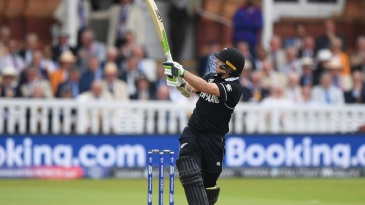 Tom Latham pulls a short ball to the boundary