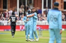 Jimmy Neesham walks back after being dismissed by Liam Plunkett, England v New Zealand, World Cup 2019, Lord's, July 14, 2019