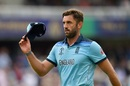 Liam Plunkett acknowledges the applause of the crowd after finishing with figures of 3/42 , England v New Zealand, World Cup 2019, Lord's, July 14, 2019