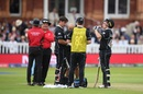 Colin de Grandhomme gets tested for concussion after being hit on the helmet by a Jofra Archer bouncer, England v New Zealand, World Cup 2019, Lord's, July 14, 2019