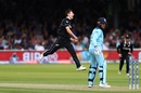 Matt Henry leaps for joy after dismissing Jason Roy, England v New Zealand, World Cup 2019, Lord's, July 14, 2019