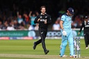 Lockie Ferguson celebrates the dismissal of Jonny Bairstow, England v New Zealand, World Cup 2019, Lord's, July 14, 2019