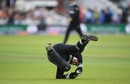 Tom Latham nervously holds on to a catch off Chris Woakes's top edge, England v New Zealand, World Cup 2019, Lord's, July 14, 2019