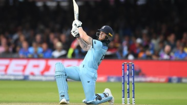 Ben Stokes smashes a six as he takes the match to the end