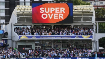 A sign signals the game is going to a Super Over