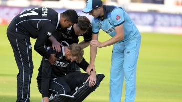 Martin Guptill is inconsolable after being run out going for the second run that would have won New Zealand the match