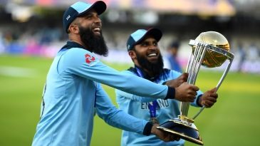 Moeen Ali and Adil Rashid with the trophy