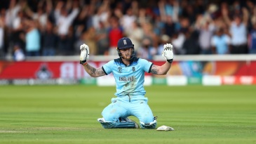 Ben Stokes gestures after he inadvertently deflected the ball to the boundary