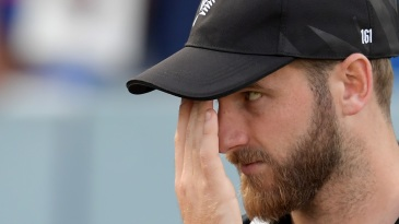 Kane Williamson reacts during the presentation ceremony