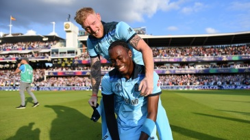 Ben Stokes was in jofra Archer's ear during the Super Over, and all over him afterwards