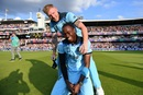 Ben Stokes was in jofra Archer's ear during the Super Over, and all over him afterwards, England v New Zealand, World Cup 2019 final, Lord's, July 14, 2019