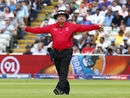 Umpire Marais Erasmus signals a wide, England v Australia, 2019 men's World Cup, Edgbaston, July 11, 2019