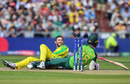 Glenn Maxwell sees the funny side to finding himself in a tangle with Faf du Plessis, Australia v South Africa, 2019 men's World Cup, Manchester, July 6, 2019