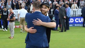 Kane Williamson greets former New Zealand captain Brendon McCullum after the final