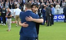 Kane Williamson greets former New Zealand captain Brendon McCullum after the final, England v New Zealand, World Cup 2019, final, Lord's, July 14, 2019