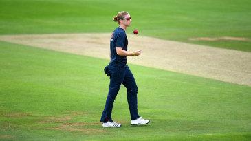 Heather Knight surveys the pitch at Taunton