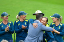 Ashleigh Gardner receives her cap from Dan Christian, England v Australia, only women's Test, Taunton, 1st day, July 18, 2019