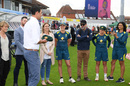Tayla Vlaeminck gets ready to receive her baggy green from Mitchell Starc, England v Australia, only women's Test, Taunton, 1st day, July 18, 2019
