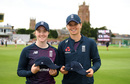 Kirstie Gordon and Amy Jones with their Test caps, England v Australia, only women's Test, Taunton, 1st day, July 18, 2019